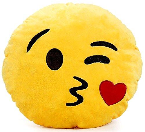 Brigamo 510 - EMOTICON KISSEN AUS PLÜSCH, 30 cm Durchmesser,Smiley Kissen mit diversen Motive zum sammeln (Emoticon das einen Kuss sendet)