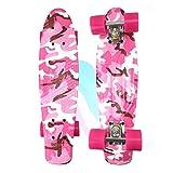 JMFHCD Rétro Cruiser Skateboard, Complet Mini Skateboard 22 Pouces avec PU Roues, pour Adultes Adolescents Enfants Garçons Filles Cadeau,Rose