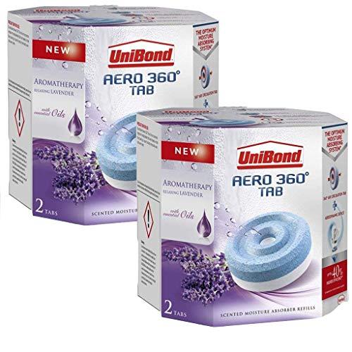 UniBond Aero 360° Moisture Absorber Relaxing Lavender Refill Tabs (4 x 450 g, Lavender)