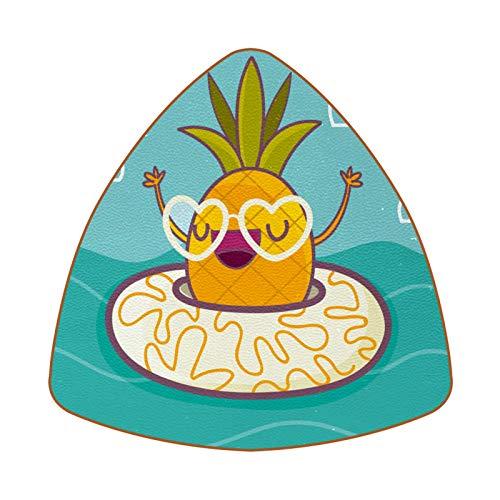 Dreieckige Untersetzer für Getränke, lustige Ananas mit Rettungsring aus Leder, Tasse, Untersetzer, Matte zum Schutz von Möbeln, hitzebeständig, für Küche, Bar, Dekoration, 6 Stück