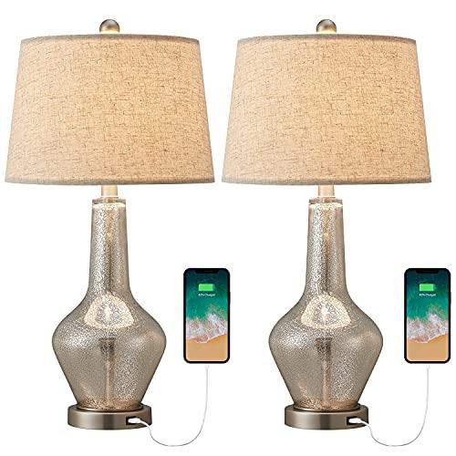 OYEARS - Juego de 2 lámparas de mesa modernas USB de cristal de mercurio de calabaza, para sala de estar (lámpara de mesa de cristal...