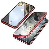 iPhone XS ケース iPhoneX カバー アルミ バンパー 透明 両面 強化ガラス 360°全面保護 アイフォンX/XS カバー マグネット式 ワイヤレス 充電対応 軽量 薄型 擦り傷防止 耐衝撃 レッド