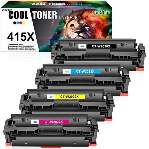Cool Toner (Kein Chip) Kompatibel für HP 415X 415A Tonerkartusche Replacement für HP Color Laserjet Pro MFP M479 M479dw M479fdn M479fdw M479fnw, M454 M454dn M454dw,W2030X W2030A W2031X W2032X W2033X