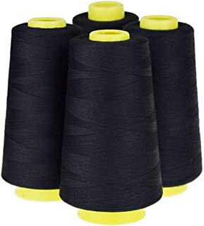 LNKA 4 Pack of 3000 Yard Spools Black Sewing Thread All Purpose 100% Spun Polyester Overlock Cone (Upholstery, Canvas, Drapery, Beading, Quilting)