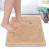 RiyaNed Alfombra de baño antideslizante, absorbente, suave y esponjosa, para bañera, ducha y baño, lavable a máquina, fácil de limpiar (marrón, 40 x 60 cm)