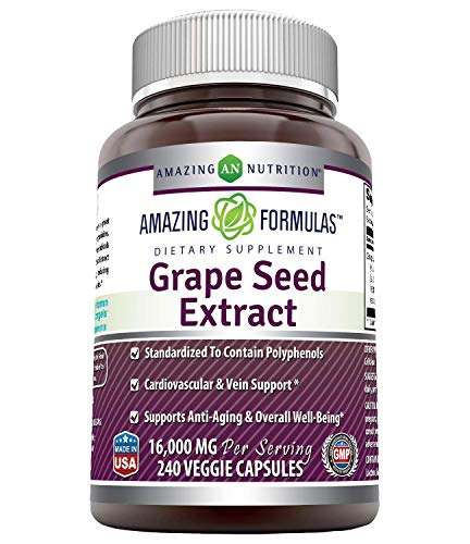 Amazing Formulas Grapeseed Extract 16000 mg Per Serving 240 Veggie Capsules (Non GMO,Gluten Free) - 20:1 Extract Equivalent to Approximately 16,000 mg of Dry Grape Seed Powder