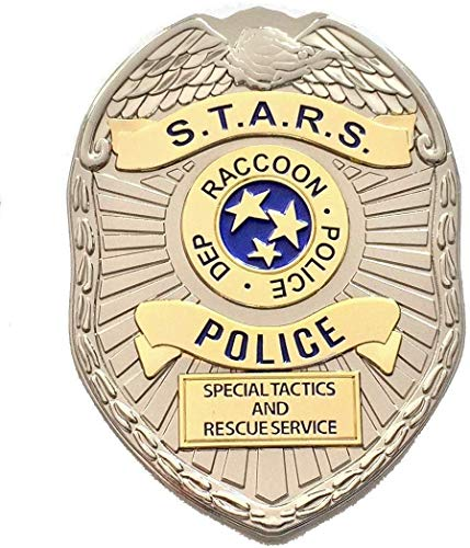 Super6props Resident Evil 2 Remake Sterne Raccoon City Police Dep S.T.A.R.S. Metall Prop Kostüm/Cosplay Abzeichen mit Pin Befestigung (75mm x 55mm)