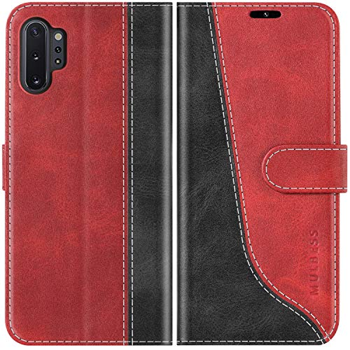 Mulbess Funda para Samsung Galaxy Note 10 Plus, Funda Móvil Samsung Note 10 Plus, Funda Libro Samsung Galaxy Note 10 Plus con Tapa Magnética Carcasa para Samsung Galaxy Note 10 Plus Case, Vino Rojo