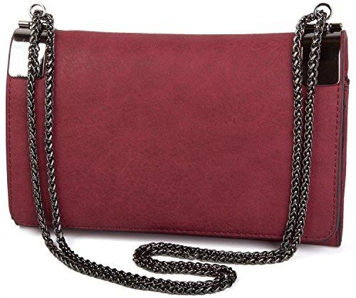 styleBREAKER Clutch, Abendtasche mit Metallspangen und Gliederkette, Vintage Design, Damen 02012046, Farbe:Bordeaux-Rot