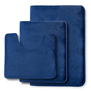 Clara Clark Non Slip Memory Foam Tub-Shower Bath Rug Set, Includes 1 Small Size 17 x 24 in. 1 Large Size 20 X 32 in. 1 Contour Rug 24 x 19 In. - Royal Blue