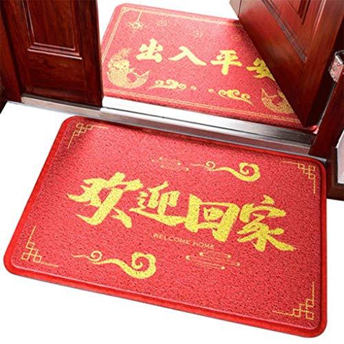 YAMMY Alfombra de Piso de Moda Puerta de casa China roja Alfombra de Puerta Antideslizante Alfombra de Puerta de PVC Alfombra de plástico para Frotar Suelo (Color: A, Tamaño: 60 * 90 cm)
