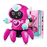 Marsjoy Rose powder Musical Baby Toys Dancing Walking Robot for Boys & Girls Kids or Toddlers Aged3+ with Music and LED Colorful Flashing Lights Dancing Singing Baby Shower