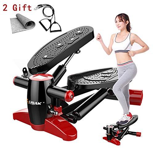 Yajun Fitness Stepper Climber Twist Multifunktionale Mini Laufbänder Leises Abnehmen mit Zugseil und Matte Massage Fußpedal,Black-red
