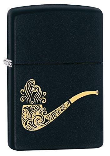 Zippo Custom Lighter: Smoking Pipe Engraved - Black Matte 78543