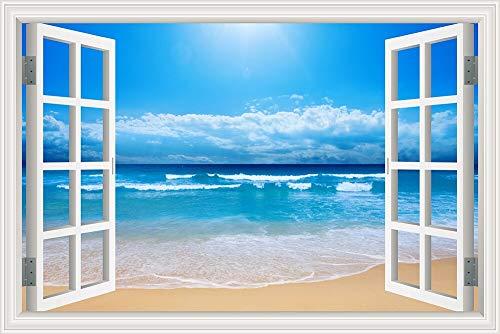 Natural Blue Sea Clear Sky Summer wave surfing sunshine beach clouds Landscape wall sticker art PVC Decal mural Wallpaper Poster 3D Window bedroom Decor