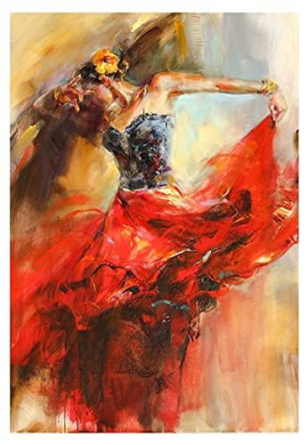 """Impresión en lienzo Dancing Ballerina Girl Posters e impresiones Cuadro de arte de pared para sala de estar 24 """"x35"""" (60x90cm) Sin Marco"""