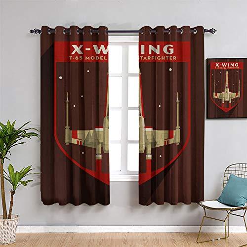 Cortinas opacas con ojales de Star Wars insignias en X, 182 x 163 cm para ventana