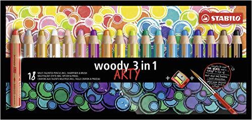 Stabilo Woody 3 en 1 - Crayon aquarellable, Crayon de Couleur et Craie grasse Paquet de 18 avec Taille-crayon et Brosse ARTY Coloris Assortis