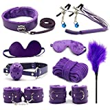 10 PCS Rêšt-ŕáîntš Party ŚëxΥ ÉrÔťïč TÔy Special Bundle Sláve Binding Set Hândcuffs Collâr Blindfold Whïp Flïrt FetiŚh Leather Bôńdâge Set Purple