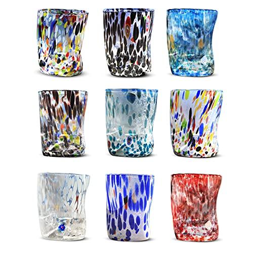 Gocce di Murano set 6 bicchieri Goto in vetro di Murano soffiato 300ml lavorazione a mano colorati confezione 6 calici per acqua eleganti e preziosi Made in Italy (Personalizzato, 6)
