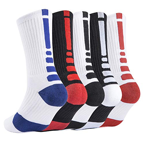 Elite Basketball Sock Cushion Athletic Long Sports Outdoor Socks Dri-fit Compression Sock for Boy Girl Men Women 6.5-11.5 (5 Pairs Type 2, One Size)