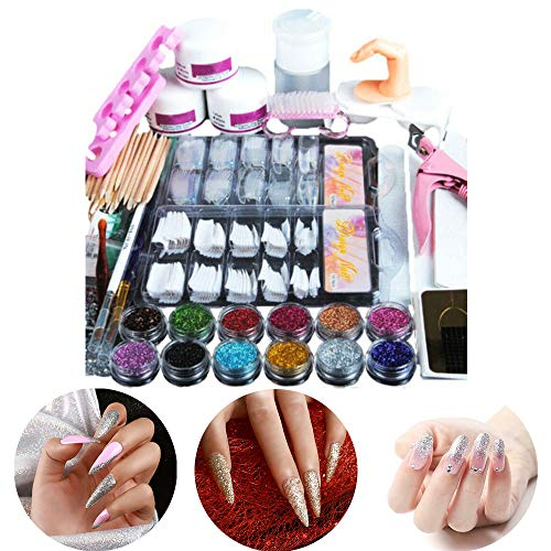Volledige acrylpoeder nail art set, 12 kleuren manicure tool kit, valse nagels glitter art tool voor beginners French Tips Nail