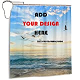luckly Custom Shower Curtain Custom Shower Curtain for Bathroom with Your Photo Text in 3D Print with Size 60x72in 66x72in 72x72in