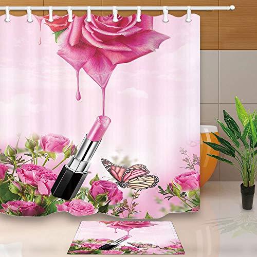 mintlmk Valentijnsdag douchegordijn tiener meisje lippenstift Rose Essence Water Drop 71X71in douchegordijn Set met 15.7x23.6in flanel antislip vloer deurmat bad tapijten
