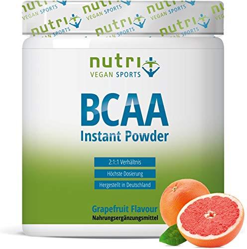 BCAA PULVER Grapefruit - Aminozuur Complex hoge dosering - BCAA's Instant Powder veganistisch - Aminozuurpoeder - 2:1:1 L-Leucine L-Isoleucine L-Valine 300g