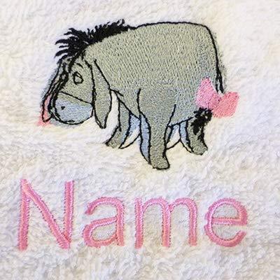 Peignoir à capuche pour enfant avec logo EEYORE et nom au choix Bleu roi 2, 4, 6, 8, 10 ou 12 ans (6 ans)