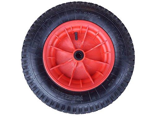 Frosal Schubkarrenrad 400 (380) mm mit Schlauch | Rad Luftrad Schubkarre | Ersatzrad 4.80 / 4.00-8 Kunststoff-Felge rot | Reifen 100 mm Breite