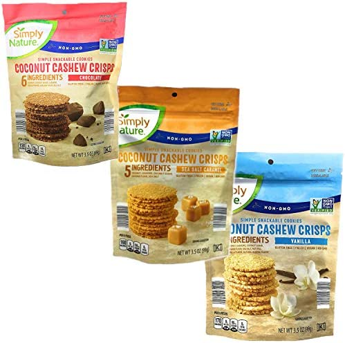 Coconut Cashew Crisps Variety Pack of 3 Flavors of Vanilla Chocolate and Salted Caramel 3 5oz product image