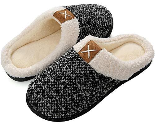 Brfash Zapatillas de Estar por Casa Hombre Invierno Memory Foam Pantuflas Suave Caliente Algodón Antideslizante,Gris,EU42/43