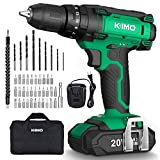 Cordless Drill Driver Kit - 20V Impact Drill Set w/ 2.0Ah Li-Ion Battery & Charger, 350 In-lb Torque, 0-1350RMP Variable Speed, 3/8'' Keyless Chuck, 21+1+1 Clutch, Drilling Wall Brick Wood Metal