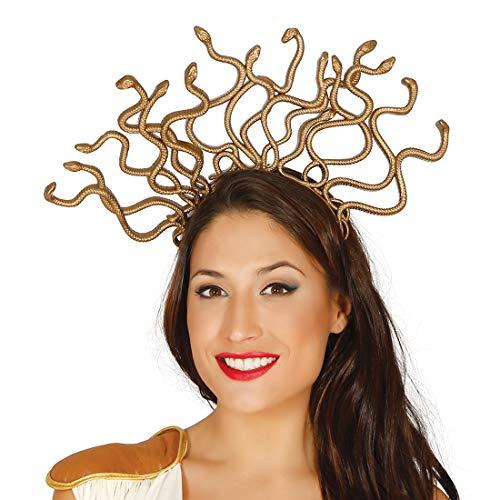 NET TOYS Adorno para la Cabeza de Medusa con Serpientes | Dorado | Extraordinario Accesorio para Disfraz Dama Reina de Las Serpientes | El Centro de Las miradas para carnavales y Festivales