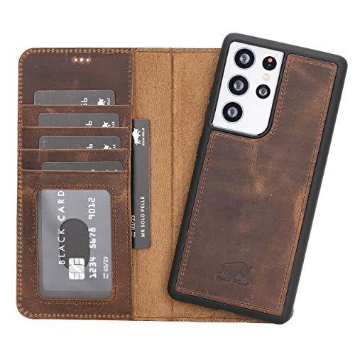 Solo Pelle Lederhülle Harvard kompatibel für das Samsung Galaxy S21 Ultra 5G in 6.8 Zoll inklusive abnehmbare Hülle mit integrierten Kartenfächern (Vintage Braun)