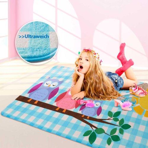 Floori Teppiche Ultraweicher Kinderspielteppich aus Mikrofasern | rutschfest | Motiv Eule | 130 x 190 cm