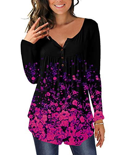 TUDOU Damen T-Shirt Langarm V-Ausschnitt Floral Knopfleiste Plissee Henley Bluse Casual Locker Blumen Tunika Tops(L, Schwarz lila)