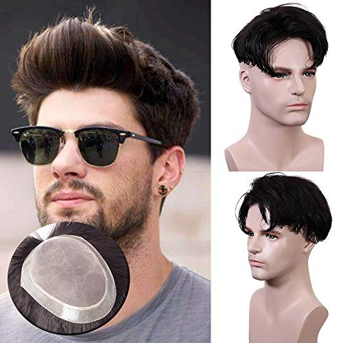 TESS Toupet für Männer Echthaar Extensions Toupee Herren Pony Haarteil Haarverlängerung Schwarz Perücken 15 x 20 cm Mono Netz