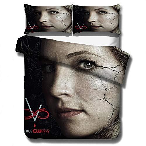juego de cama con funda nórdica 3D de The Vampire Diaries, ropa de cama con funda edredón para adultos y adolescentes, textiles para el hogar tamaño completo suaves, cómodos-H_135x200cm (2pcs)