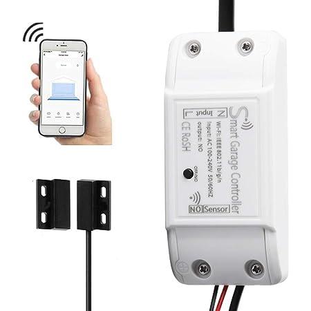 Wifi Smart Garage Door Controller Wireless Garage Door Opener Wifi App Switch Remote Control Compatible With Alexa Google Home Amazon Com