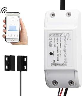 WiFi Smart Garage Door Controller Wireless Garage Door Opener WiFi APP Switch Remote Control Compatible with Alexa Google Home