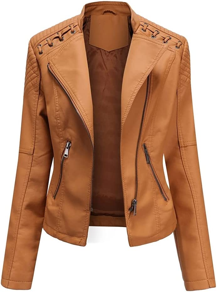 CDQYA Spring Women's Leather Jacket Slim Turn-Down Collar Short PU Leather Jacket Women Zipper Motorcycle Jackets Outwear Female (Color : Camel, Size : M Code)