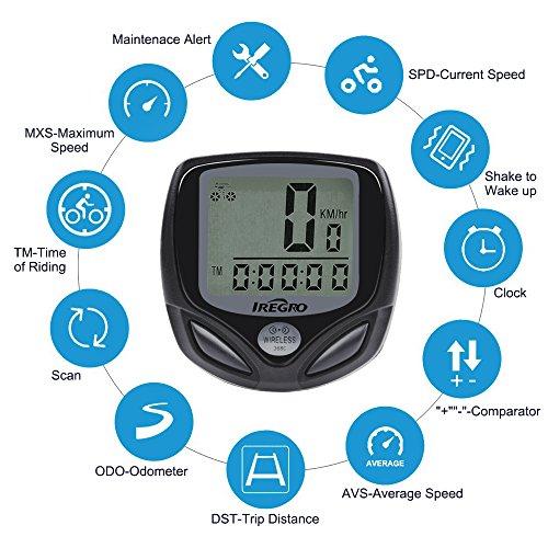 IREGRO Ordinateur de Vélo de l'Ordinateur Automatique réveil LCD Affichage étanche sans Fil vélo Compteur de Vitesse, Compteur kilométrique vélo