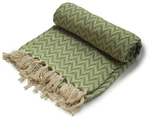 Crafkart, Überwurf aus Baumwolle, Zickzack-Muster, mit Fransen, für Stuhl, Couch, Picknick, Camping, Strand, für den...