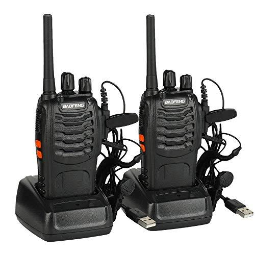 Radtel PMR446 Walkie Talkie Recargables 16 Canales Walkis Profecionales CTCSS DCS Walky Walky Radiocomunicación con Carga Tipo USB Pinganillos Antena Clip para Construccion Restaurante Supermercado