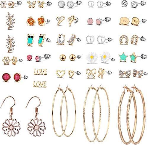 GOTONE 29 coppie Assortimento multiplo Set di orecchini a bottone per ragazze donne Set di orecchini a cerchio semplici Natale per feste per gioielleria da ragazza
