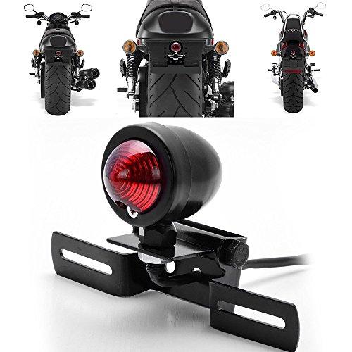 Custom Tail Brake Stop Running Light + License Plate Holder Bracket Relocator Motorcycle For Harley Bobber Chopper Cruiser Dyna Glide Sportster (Black)