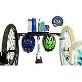 Koova Wall Mount Bike Storage Rack Garage Hanger for 3 Bicycles + Helmets   Fits All Bikes Even Large Cruisers/Big Tire Mountain Bikes   Heavy Duty Powder Coated Steel   Made in USA