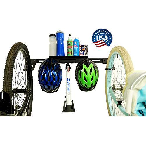 Koova 2-Bike Wall-Mount Storage Rack - Garage Hanger for Big-Tire Cruisers or Mountain Bikes - Easy to Install, Features Attached Shelf and Storage Hooks - Powder Coated Steel, Made in USA
